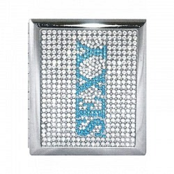 Zigaretten Etui aus Metall -2 teilig Schrift Sexy blau